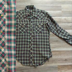 Red Green Vintage Western Shirt w/ Pearl Snaps